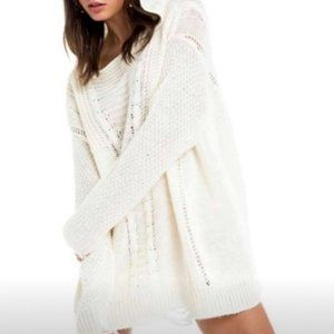 Wildfox Cream Knit Pullover Hoodie Sweater Size XL